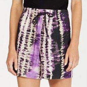 NWT Tie Dye Purple Mid Rise Drawsting Shorts XSm